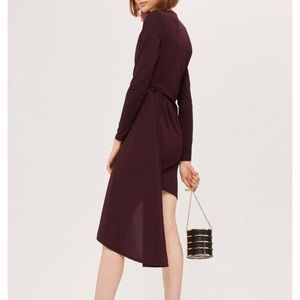 Topshop Assymetric Crepe Drape Mini Dress